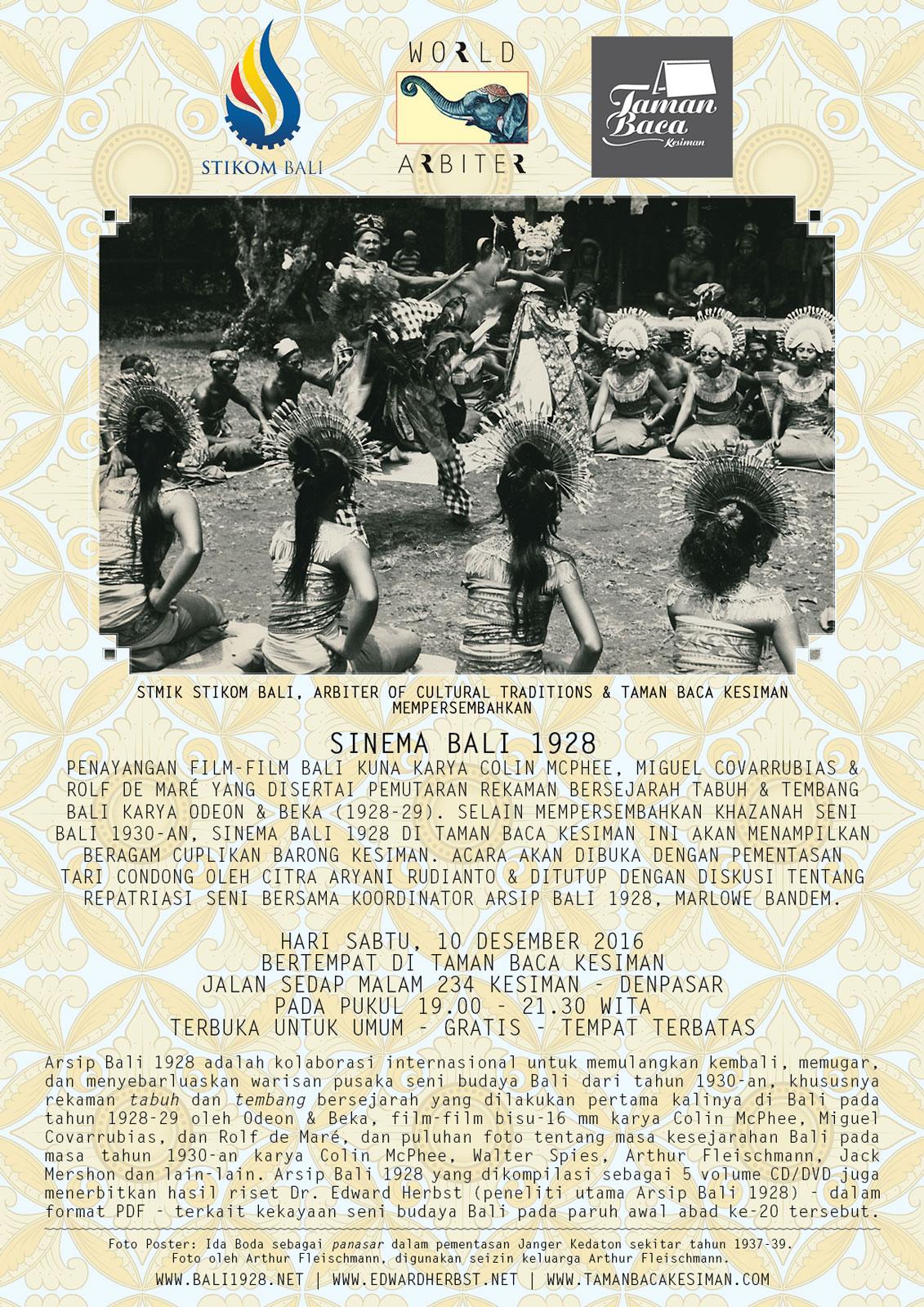 Sinema Bali 1928 di Taman Baca Kesiman